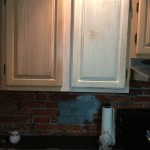 Before Painting of Kitchen Cabinets and Brick Wall