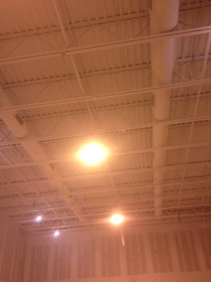 After Airless Spray Painting Bar Joist Ceiling